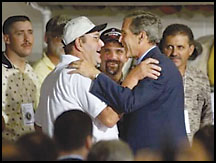 President Bush greeting the rescued miners