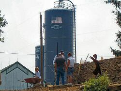 Dormel Farms' silo overlooking the rescue site